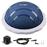 Yes4All Half Balance Ball/Half Yoga Ball Balance Trainer with Foot Pump for Balance Training (Blue/Light Gray)