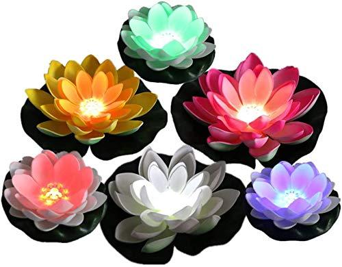 Wythe 6 luces LED de loto impermeables, flotantes de loto artificial, flor de lirio flotante de agua con luz que cambia de color, lámpara de noche de flores, colores mezclados para estanques y más
