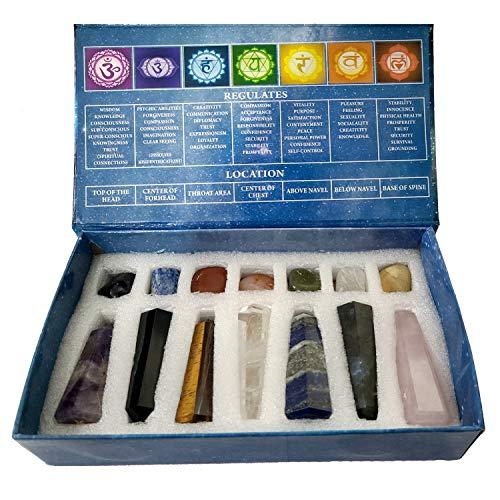 KACHVI Juego de Cristales y Piedras curativas Regalos de Cristal Juego de Cristales curativos Regalos de meditación para la energía Las 7 varitas de Chakra y Piedras caídas Juego de 14 Piezas