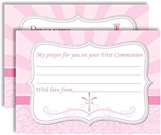 """First Holy Communion Religious Fill In Prayer Cards for Girls, Ten 4"""" x 5.5"""" Fill In The Blank Cards by AmandaCreation"""