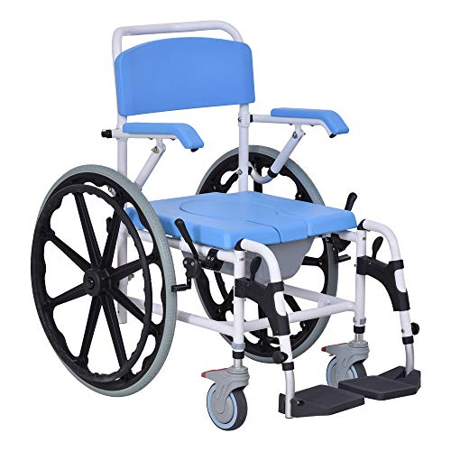 "HomCom Rolling Shower Wheelchair Bath Toilet Commode Bariatric with 24"" Wheels, Detachable Bucket & Shower-Proof Design, Blue"