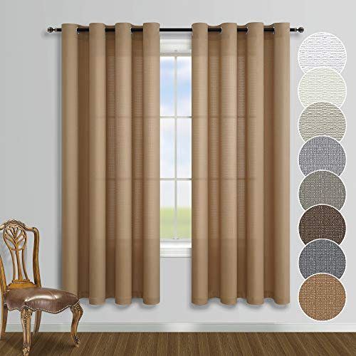 Rustic Window Curtains 63 Inch Length for Bedroom 2 Curtain Panels Set Sheer Burlap Boho Farmhouse Natural Primitive Decor Cotton Linen Textured Grommet Curtains for Kitchen Living Room Wood Tan Brown