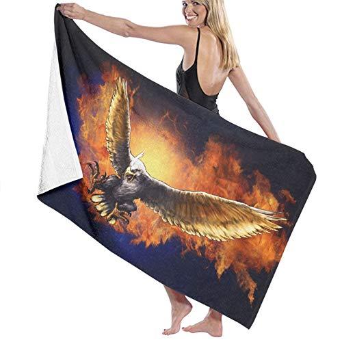Pureny Fire-Eagle-Background-Wallpaper-61365 Toallas de playa de secado rápido superabsorbentes para baño y piscina de 80 x 130 cm