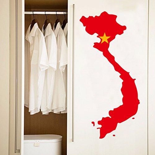 Vietnamese Vlag Kaart van Vietnam muur Vinyl Sticker Aangepaste Home Decoratie Muursticker Bruiloft Decoratie PVC Wallpaper Mode Ontwerp