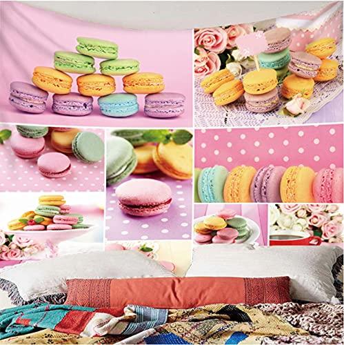Weibing Tapiz de impresión en Color 3D Estilo Moderno Postre Colorido Macaron patrón Creativo decoración del hogar tapices Arte de Pared para Habitaciones 240(An) x220(H) cm