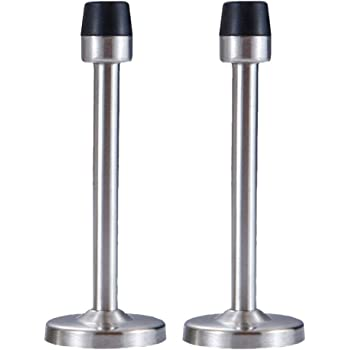 4 7 Inch Wall Mounted Door Stops Stainless Steel Door Stopper With Sound Dampening Rubber Tip Protector