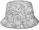 Unisex Rojo Negro leñador Estampado a Cuadros Sombrero de Cubo de Viaje Gorra de Pescador de Verano Sombrero de Sol-Criatura Marina Cangrejo de...
