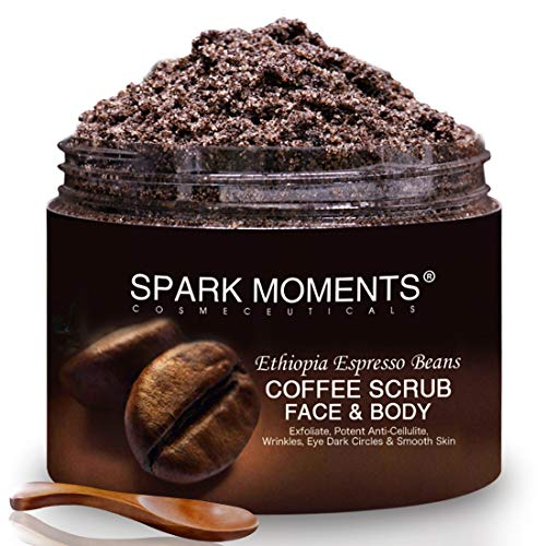 Natural Arabica Coffee Beans 340g/12oz Sweet Almond Oil,Jojoba, Shea Butter Face Body Cellulite Remove, Stretch Marks Removal with Spoon