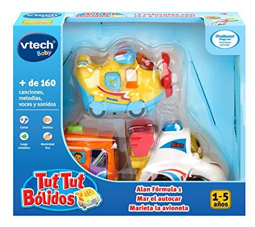 VTech TutTut 3er Pack Auto mit Überraschungstaste, Alan Formel 1, Fahrzeug Meer und Marieta, Mehrfarbig (3480-242177), Farbe/Modell Sortiert
