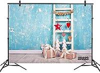 写真の新しいクリスマス背景素朴な農家の階段古いueの壁のギフト木製の床の写真の背景子供のための7x5ftのカスタマイズされた写真ブースの小道具