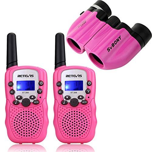 Retevis RT388 Walkie Talkie Niños y Binoculares Niños PMR446 8 Canales Linterna VOX Walkie Talkie Niñas 8x21 Ultra Compacto Prismáticos Niños Juguete Regalo para Niños (Rosa)
