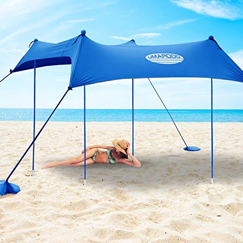 UMARDOO Family Beach Sunshade with 4 Sand Anchors,4 Aluminum Poles & Carring Bag,UPF 50+ (Blue, 7x7 ft)