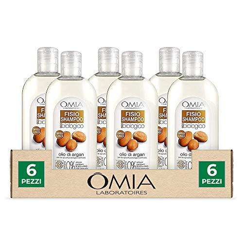 Omia, Fisio Shampoo Nutriente e Lisciante per Capelli Secchi e Crespi e Cuoio Capelluto Delicato, Ecobio Olio di Argan - Dermatologicamente Testato, Senza SLES e PEG - Confezione da 6 Pezzi da 250 ml