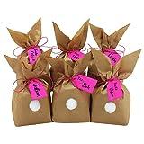 Papierdrachen 12 Osterhasen zum selber Basteln und Befüllen - Kreatives Geschenk zu Ostern mit 12 Papiertüten, Kordel und Pompons - für Mädchen