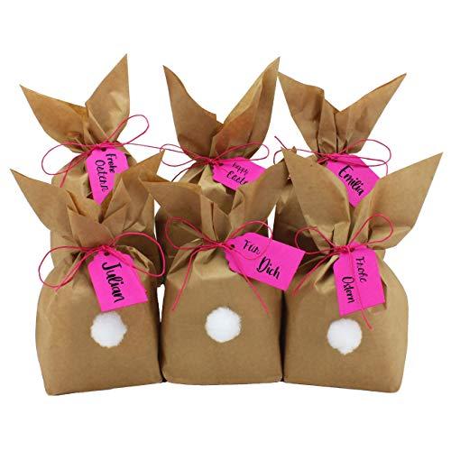 Papierdrachen 12 Osterhasen zum selber Basteln und Befüllen - Kreatives Geschenk zu Ostern mit 12 Papiertüten, Kordel und Pompons - Pink für Mädchen