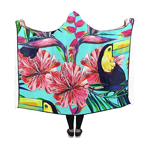 Yushg Mit Kapuze Decke Tukan exotische Vögel Tropische Blumen Palm Decke 60 x 50 Zoll Comfotable Hooded Throw Wrap