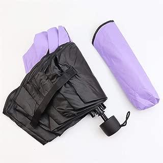 AUWANGAOFEI Watering Flowering Black Plastic Sunscreen Creative Umbrella Thickening Corrugated Side Sunshade Raining Manual Umbrella (Color : Purple)