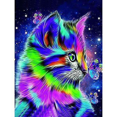 Cskunxia 5D Diamant Malerei Katze Full Drill Diamond Painting für Erwachsene und Kinder Dekoration für Home Wall