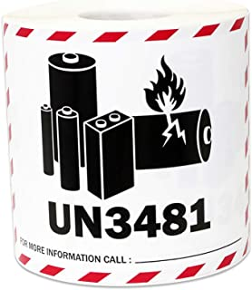 300 Labels - UN3481 Lithium Ion Battery Stickers for Battery Warning Shipping & Handling Warning (4 x 3 Inch - 1 Roll)