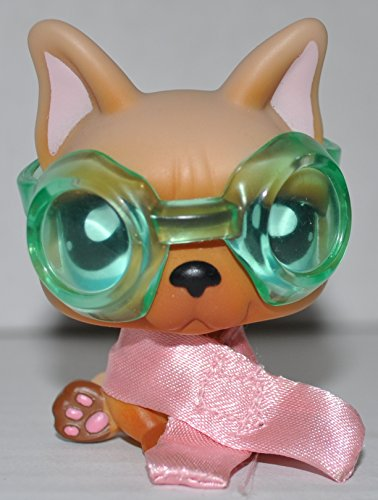 French Bulldog #1847 (Tan, Blue Eyes, Goggles, Scarf) - Littlest Pet Shop (Retired) Collector Toy - LPS Collectible Replacement Single Figure - Loose (OOP Out of Package & Print)