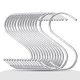S Shaped Hooks Stainless Steel Metal Hangers Hanging Hooks for Kitchen, Work Shop, Bathroom, Garden (S/10pcs)