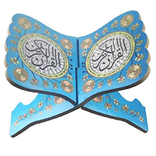 Gebetbuch Ständer Kuran Halter Koran Regal aus Holz Blau für Eid Mubarak Dekoration Party Supplies Islamische Ramadan Versorgung