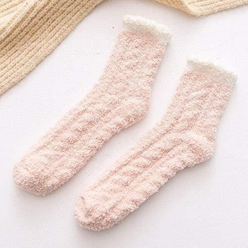 Calcetines de Lana de Coral de Invierno en Tubo Calcetines para Adultos Calcetines cálidos Salvajes Calcetines de Toalla para Adultos Calcetines-Pink