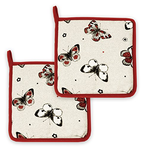 Lashuma Topflappen 2er Set, Untersetzer für Töpfe, Pfannen, Kochlappen im Doppelpack, Schmetterlings Print Beige Rot