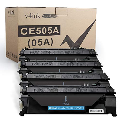 V4INK 4PK Compatible Toner Cartridge Replacement for HP 05A CE505A Toner Cartridge Black Ink for HP Laserjet P2035 P2035n P2030 P2055 P2055d P2055dn Pro 400 M401n M401dne M401dw M425dn M425dw Printer
