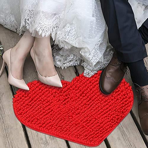 Alfombra de felpudo en forma de corazón de chenilla para el día de San Valentín, felpudos mullidos alfombra alfombras de piso en forma de corazón alfombra decorativa baño-rojo + rosa rojo + rosa
