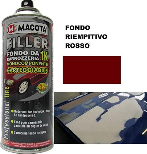 MACOTA TRS Filler Fondo RIEMPITIVO da CARROZZERIA 1K Rosso 400 ML Vernice Spray MONOCOMPONENTE CARTEGGIABILE Auto Moto Camper Professionale CARROZZIERE