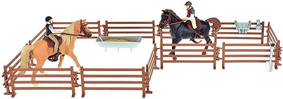 Juguete para caballos con establo para caballos, dos caballos, dos figuras de jinete y accesorios para caballos.