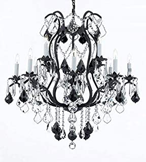 Wrought Iron Crystal Chandelier Lighting Chandeliers H30 x W28 Dressed with Jet Black Crystals!