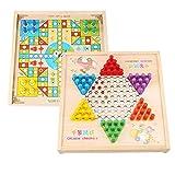 FEANG Ludo Set, Ludo Board Game & Chalk Checkers 2 en 1 Tablero de Madera Natural Volando Juego de ajedrez para Adultos y niños