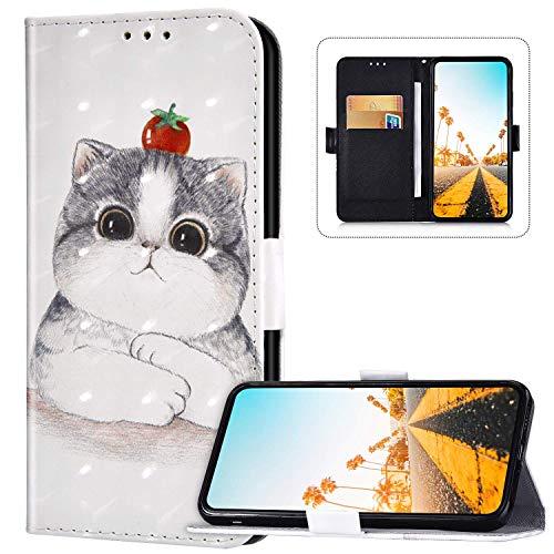 Étui portefeuille à rabat en cuir PU pour LG V40 ThinQ Motif mignon [béquille] [fentes pour cartes] [fermeture magnétique] Étui portefeuille à rabat pour LG V40 ThinQ, Cat-3