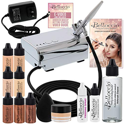 Belloccio Professional Beauty Airbrush Cosmetic Makeup System with 4 Fair Shades of Foundation in 1/4 Ounce Bottles - Kit Includes Blush, Bronzer and Highlighters