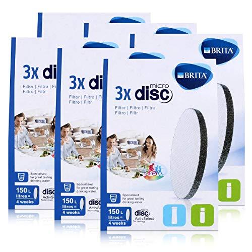 BRITA Lot de 3 filtres à eau MicroDisc - Compatible avec les bouteilles filtrantes BRITA fill&go et les carafes filtrantes BRITA fill&serve (pack de 6)