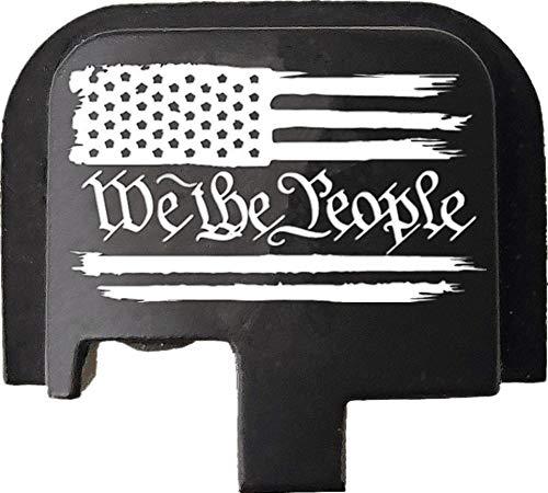 Laser Engraved Aluminum Rear Cover Slide Back Butt Plate for Taurus G2 G2C G3 G3C 9mm & Millennium PT111 G2 PT140 and P709 P740 G2S G3S, WE The People US Flag