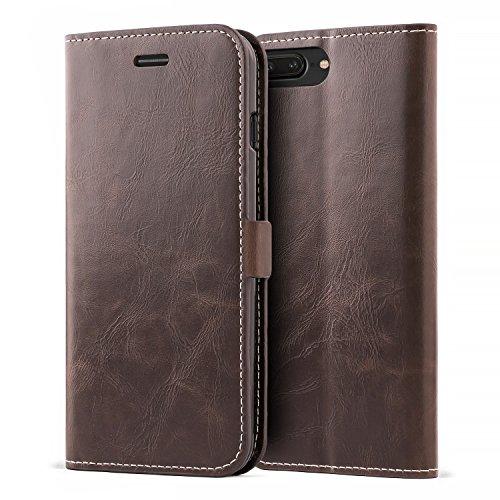Mulbess Cover per iPhone 8 Plus, Custodia Pelle con Magnetica per iPhone 8 Plus / 7 Plus (5.5 inch) Flip Case, caffè Marrone