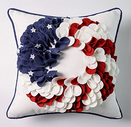 4th of July Independence Day Embroidery Pillow Covers 18x18  Red White and Blue Patriotic Decorations 3D Flower Wreath American Flag Pillow Covers  Memorial Day Flag Day Patriotic Day Veterans Day