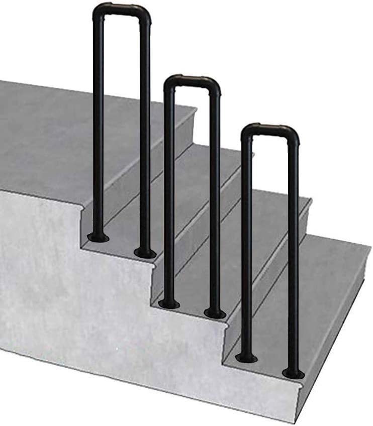 RTY-SC Black Wrought Iron Outdoor Transiti Stair Steps Sale item Max 41% OFF Handrail