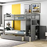 Convertible Bunk Bed, Wood Bunk Bed with Storage Shelves and Drawers, Convertible Bottom Bed, Twin Over Twin/Twin Over Full, Grey