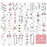 Pegatinas de tatuaje simulación a prueba de agua pequeño alfabeto inglés fresco geométrico pegatinas lindas-Tipo J_5.7 * 9.7cm 1 juego de 30 hojas