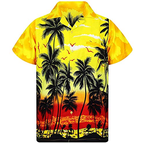 BHYDRY Mode für Männer Casual Button Hawaii Print Strand Kurzarm Quick Dry Top Bluse