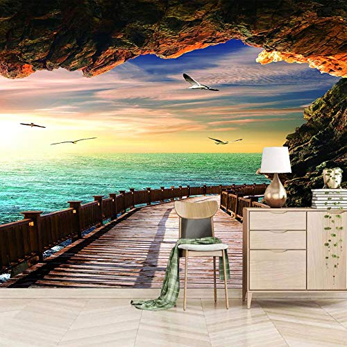 Papel Adhesivo Pared Paisaje Marino Fotomurales Tejido No Tejido Murales Moderna Diseño Póster Salón Dormitorio Tv Telón De Fondo Pared Hogar Decoración 250X175 Cm