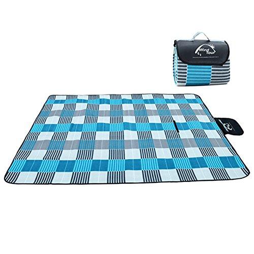 Minetom Large Picknickdecke wasserdichte sanddichte Fleece Picknickdecken Campingdecken Stranddecke Blau 150x200cm