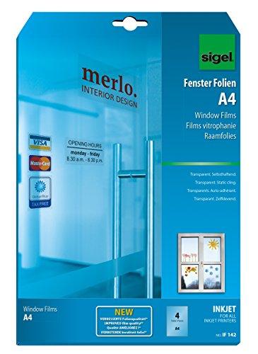 SIGEL IF142 InkJet-Fenster-Folien A4, 4 Blatt, klar, selbsthaftend, mehrfach ablösbar