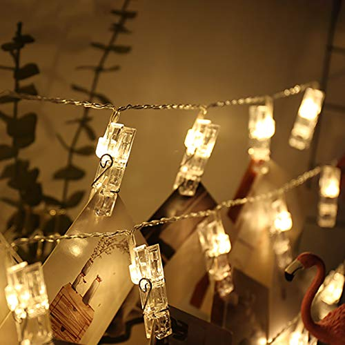 BEAUTYBIGBANG Waterproof LED Photo String Lights 40 Photo Clips Battery Powered Fairy Twinkle Lights Photo Frame Fairy Lights with Pegs for Photos with Remote