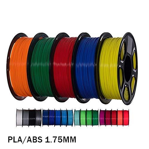 H.Y.FFYH Accesorios para impresoras 5pcs PLA/ABS/PETG Impresora 3D de filamentos 1.75mm 1kg 343m / 10M 5color del Material de impresión en 3D 2.2 Libras Material plástico for la Pluma 3D 3D Impresora