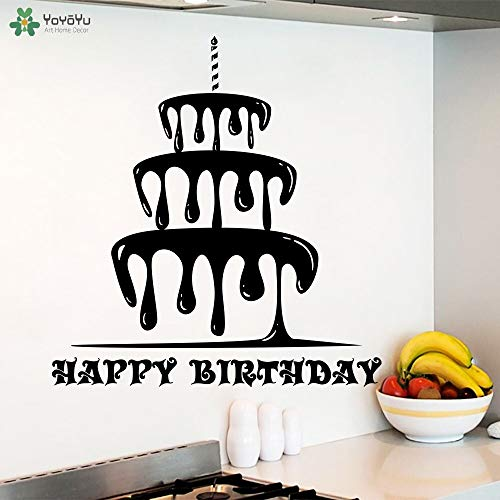 Ajcwhml Happy Birthday Wall Stickers Cake Pattern Vinyl Modern Design Kids Room Wall Decal Interior Happy Holiday Home Decor Mural 79x85cm